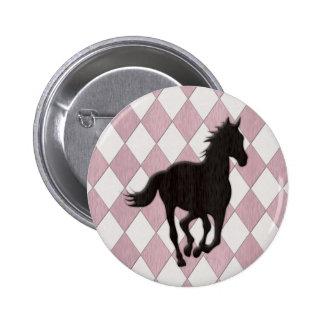 Black Horse on Pink White Diamond Pattern 6 Cm Round Badge