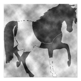 black horse photo print