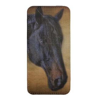 Black Horse Portrait on Rustic Parchment-effect