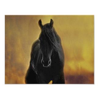 Black Horse Silhouette 11 Cm X 14 Cm Invitation Card
