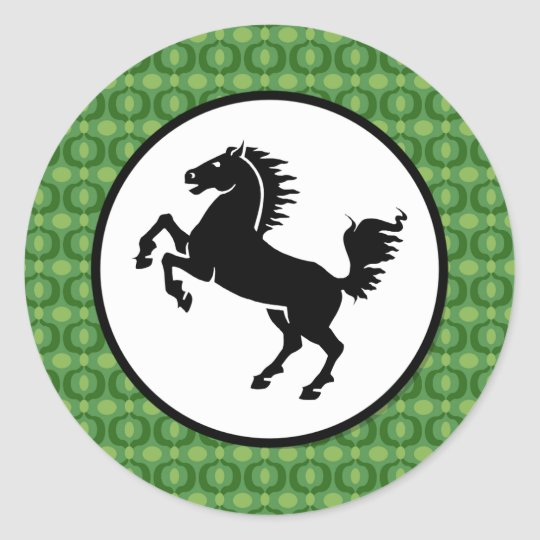 Black Horse Silhouette on Green Pattern Classic Round