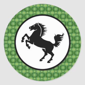 Black Horse Silhouette on Green Pattern Round Sticker