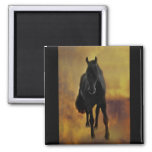 Black Horse Silhouette Refrigerator Magnet