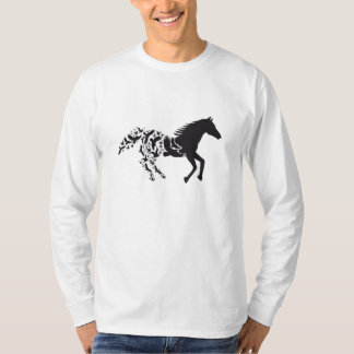 Black horse silhouette with flying birds t-shirts