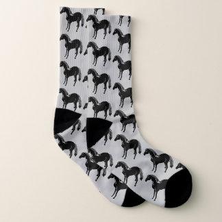 Black Horses Grey All-Over-Print Socks