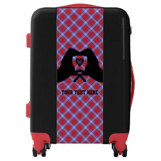 Black Horses on Plaid Personalized Suitcase
