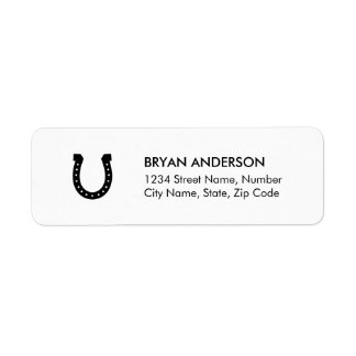 Black Horseshoe Return Address Label