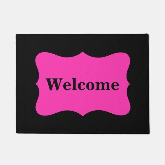 Black Hot Fuchsia Bright Pink Welcome Custom Doormat
