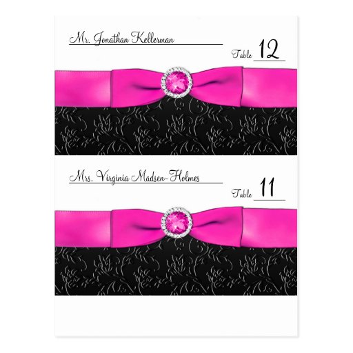 Black, Hot Pink and White Customizable Placecards Post Cards