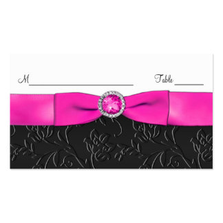 Black, Hot Pink, and White Placecards Business Cards
