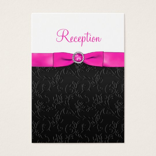 Black, Hot Pink and White Reception Card