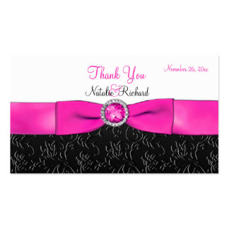 Black, Hot Pink, and White Wedding Favor Tag Business Card Templates