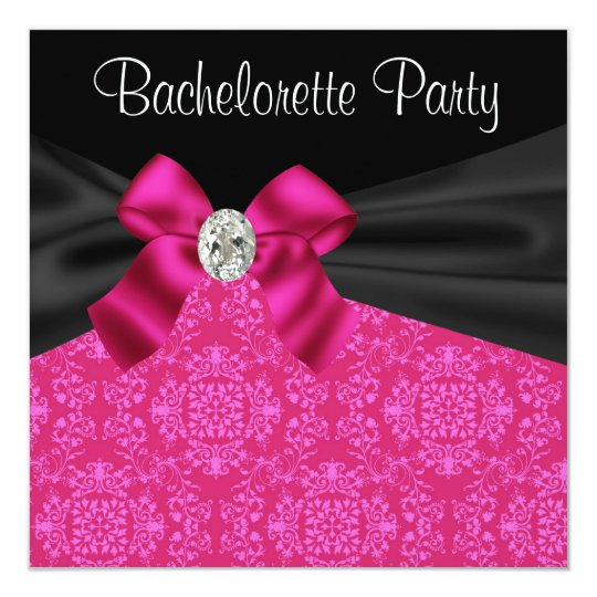 Black Hot Pink Bachelorette Party Invitations