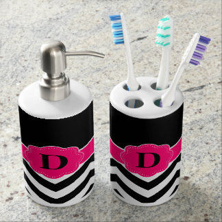 Black hot pink Chevron Monogram Bath Set
