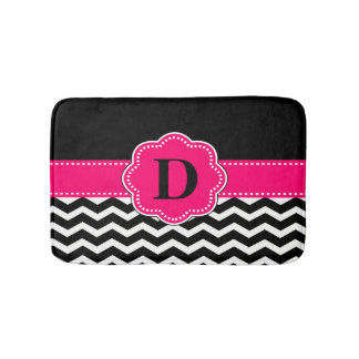 Black Hot Pink Chevron Rug Bath Mats
