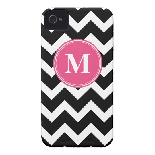 Black & Hot Pink Chevron with Custom Monogram Case-Mate iPhone 4 Cases