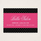 Black & Hot Pink Cute Modern Polka Dots Business Card