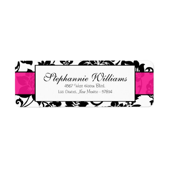 Black/Hot Pink Floral Damask Wedding Address Label