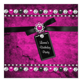 Black Hot Pink Girls Birthday Party 13 Cm X 13 Cm Square Invitation Card