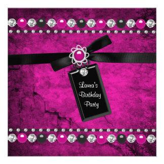 Black Hot Pink Girls Birthday Party Invitations