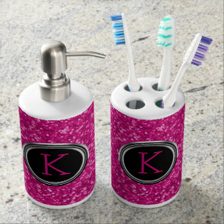 Black Hot Pink Glitter Bling | Custom Monogrammed Bathroom Set