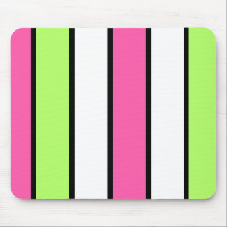 Black, hot pink, lime green and white stripes mouse mat