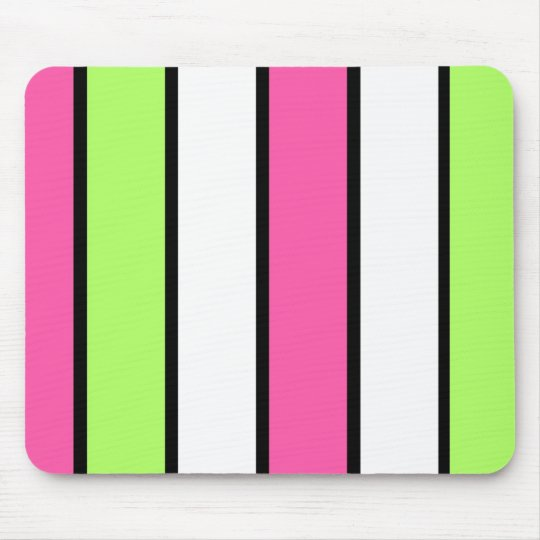Black, hot pink, lime green and white stripes