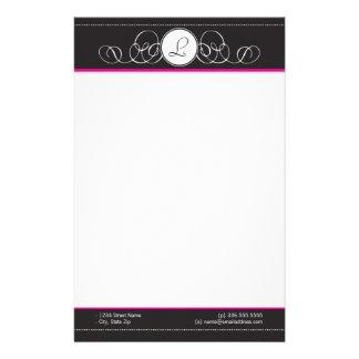Black & Hot Pink Monogram Stationery