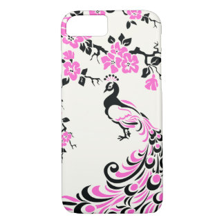 Black, hot pink peacock & cherry blossoms iPhone 7 case