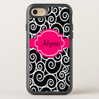 Black Hot Pink Swirls OtterBox Symmetry iPhone 8/7 Case