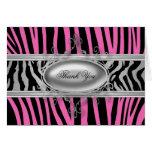 Black hot Pink Zebra Thank You Cards