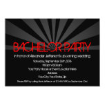 Black Hot Red Lights Bachelor Party Invitation