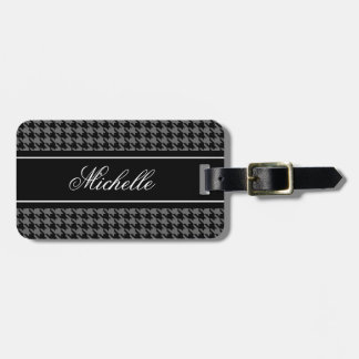 Black houndstooth check pattern travel luggage tag