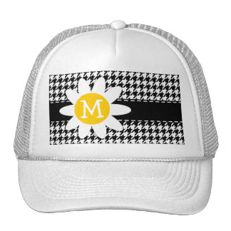 Black Houndstooth; Daisy Trucker Hat