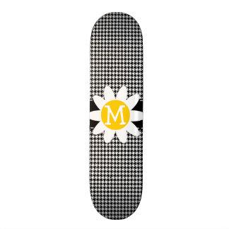 Black Houndstooth Daisy Skate Board Deck