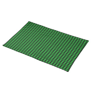 Black Houndstooth on Green Placemat