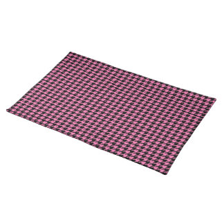 Black Houndstooth on Pink Placemat