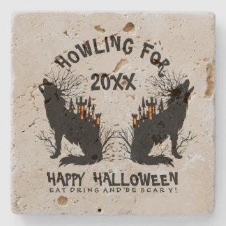 Black Howling Wolf Illustration Stone Beverage Coaster