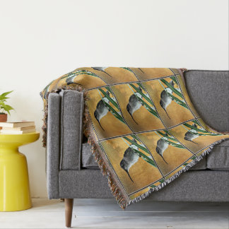 Black Hummer in Golden Sky Throw Blanket