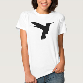 Black Hummingbird Silhouette Hovering In Mid Air T-shirts