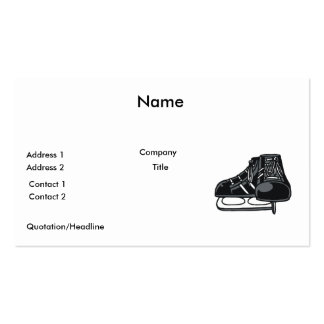 black ice hockey skates graphic pack of standard business cards