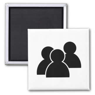 Black Icon People Square Magnet