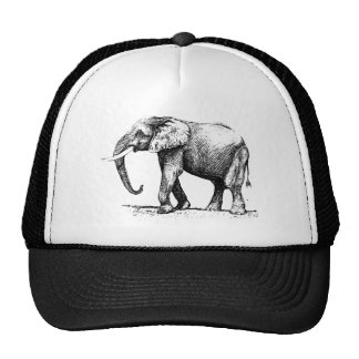 Black Illustration Of An Elephant Cap