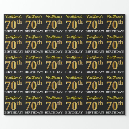 Black Imitation Gold 70th BIRTHDAY Wrapping Paper