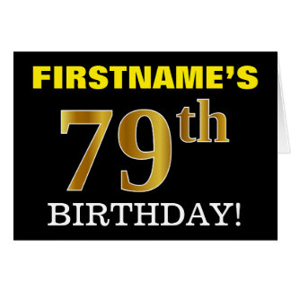 "Black, Imitation Gold ""79th BIRTHDAY"" Card"