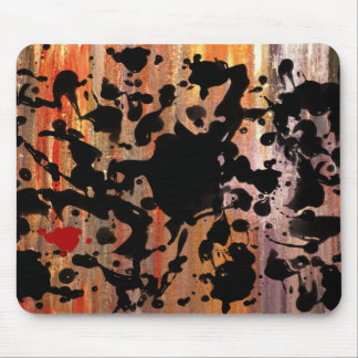 BLACK INK grunge painting Mouse Pads