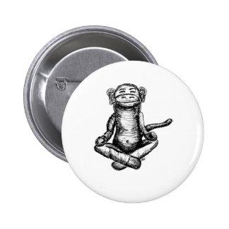 black ink zen monkey 6 cm round badge