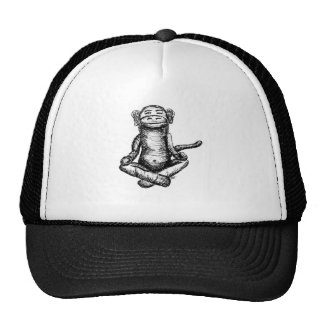 black ink zen monkey trucker hat