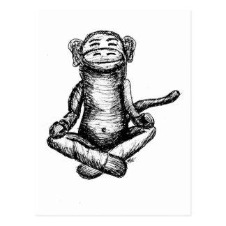 black ink zen monkey postcard