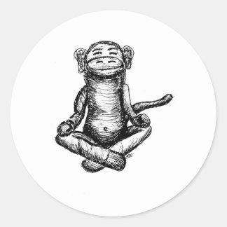 black ink zen monkey round sticker